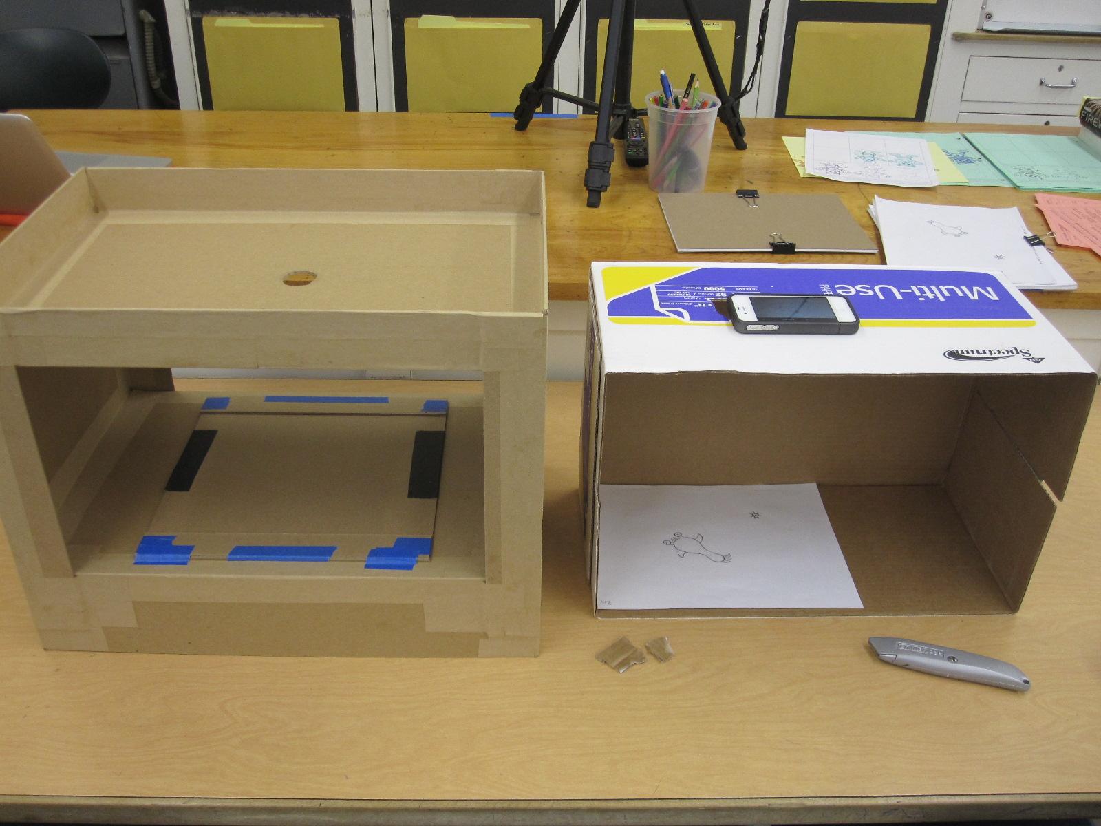 Cardboard animation camera stand cartooning animation for Animation stand