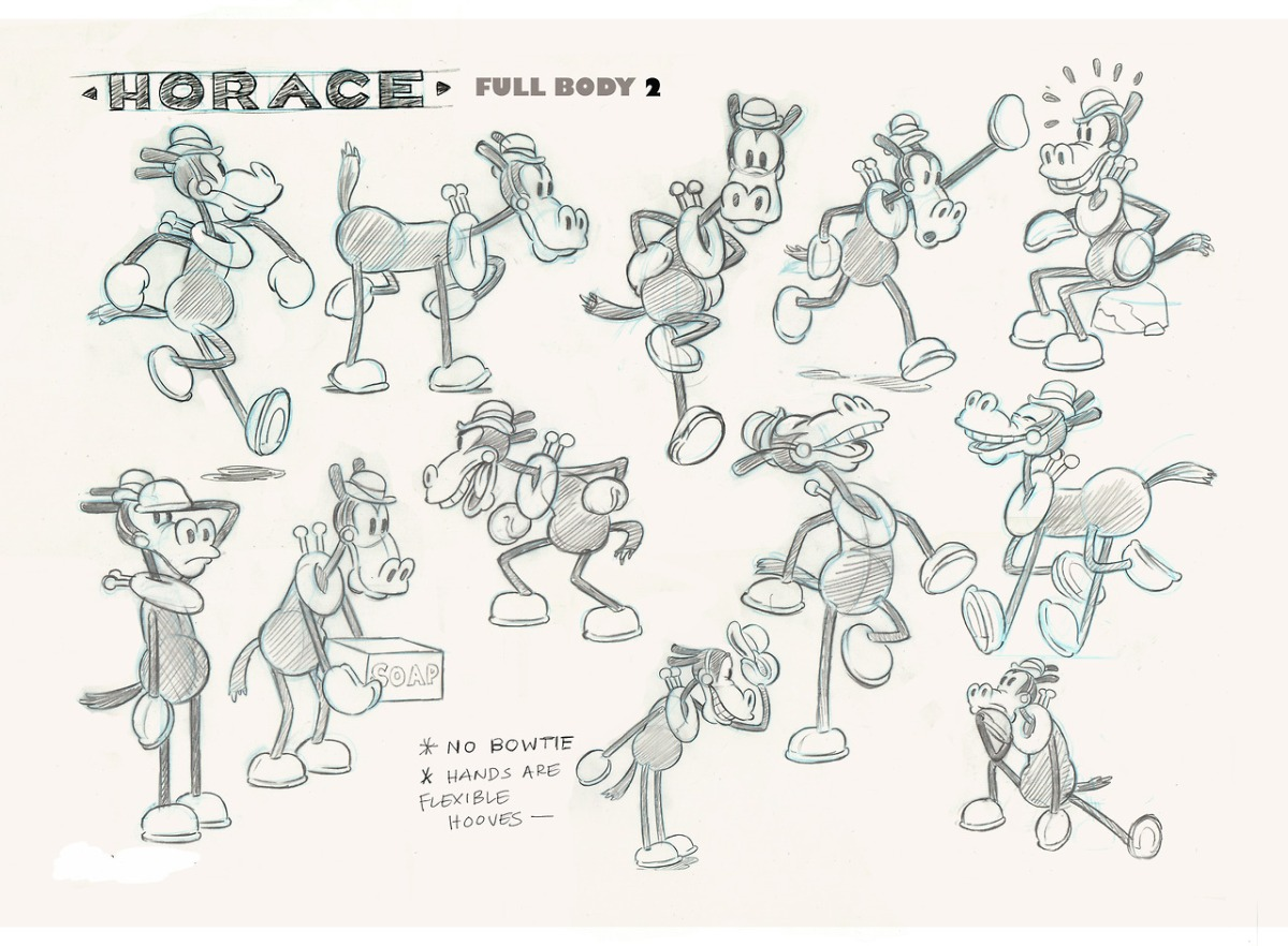 """GET A HORSE!"" Horace model sheet. ©2013 Disney. All Rights Reserved."