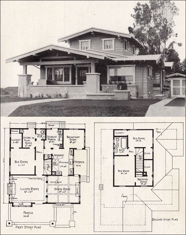 Architectural plan views cartooning animation for 1920 bungalow house plans