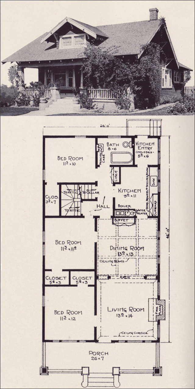 1920 craftsman bungalow floor plans thefloors co for Craftsman style flooring
